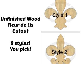 Fleur de Lis - 01676- Unfinished Wood Laser Cutout, Home Decor, French decor, Various Sizes, Wreath accent, 2 styles
