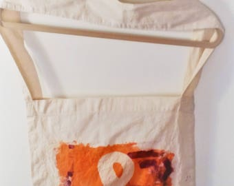 100% cotton calico shoulder bag Orange Inkodye Ampersand print