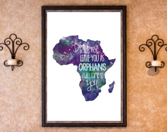 Wall Decor - Adoption African Orphans - Water Color Graphic Print (More Colors)