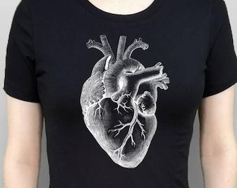 Heart Shirt Anatomical Heart T-Shirt White Heart Tshirt Heart Tee Women's Top Black Shirt Screen Printed Tee Women's Clothes Gothic Clothes