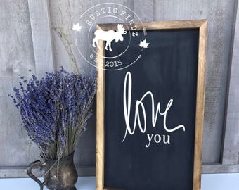 Love you sign // love you wood sign // love you // wood sign // rustic decor // farmhouse decor //farmhouse style