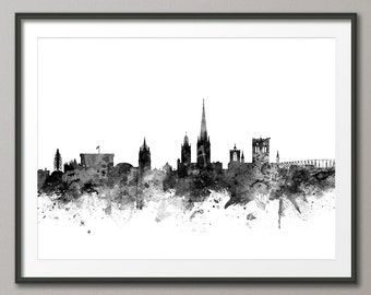 Norwich Skyline, Norwich England CityscapeArt Print (1825)