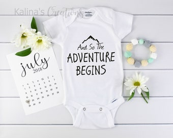 The Adventure Begins Onesie / baby announcement Onesie