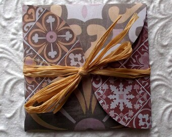 Greeting card (and envelope) taupe, Orange, pale pink and Burgundy patterns cement tiles