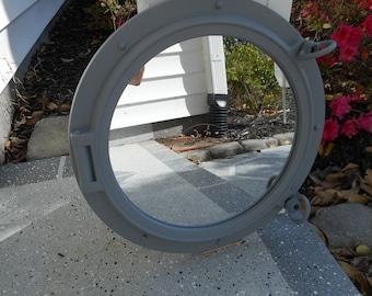 Grey 15 inch ship port hole / porthole mirror / beach decor / nautical decor