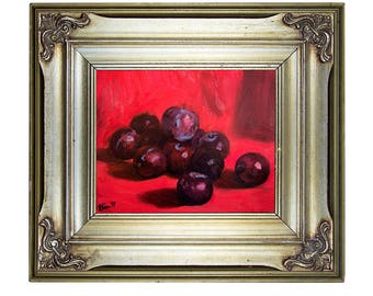 Framed Still Life Original Oil Painting Red Painting Framed Painting Oil on Canvas Impressionist Art Original Art Framed Artwork