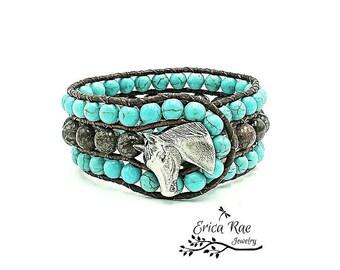 Leather wrap bracelet, turquoise bracelet, blue bracelet, horse bracelet, western bracelet, wrap bracelet, leather bracelet, country girl