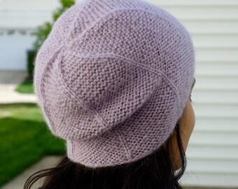 Knitted Purple Alpaca Hat - Purple Alpaca Beret - Purple Alpaca Wool Hat - Slouchy Knit Hat - Knit Slouch Hat for Women - Womens Winter Hat
