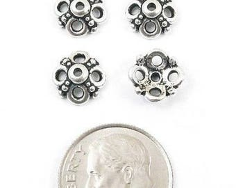 TierraCast Pewter Bead Caps-Antique Silver Clover (4)