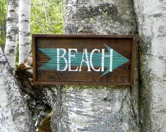 Beach Signs and Beach Decor, Handmade Wood Sign, Nautical Decor, Arrow Sign, Rustic Style Beach Decor, Outdoor Sign, Ocean and Nautical Sign