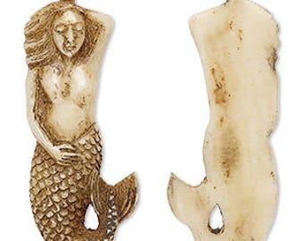 Bone Bead Pendant Mermaid Antiqued Color 60x26mm