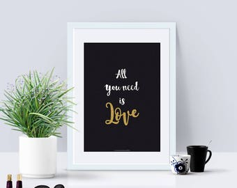 A4 - A4 paper poster - Declaration - Love, quote, black and white, valentine's day, statement, lover, couple, All you need is love - A