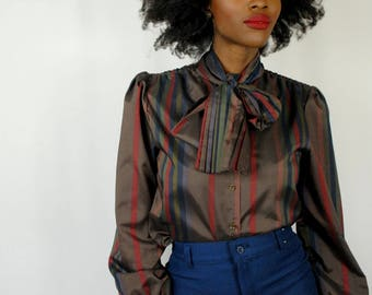 Brown/navy/red striped tie neck blouse 1980s 80s VINTAGE