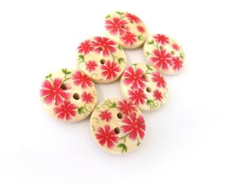 Small wooden buttons - Pink flowers pattern wooden shirt buttons 15mm - set of 6