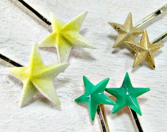 1950s Vintage Hair Pins- Green, Yellow or Gold Glitter Star Hair Pins- Star Bobby Pins- Hair Accessories for Women- Teen Girl Gifts Under 20