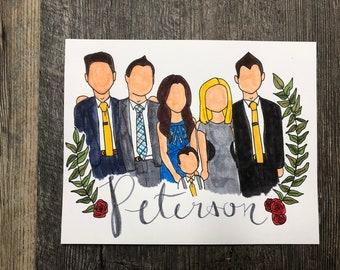 Faceless Watercolor Family/Single Portraits
