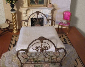 """Dollhouse Miniature Wrought Iron Bed """"GRACELYNNE"""" 1:12 Scale Twin and Full, Half Scale"""