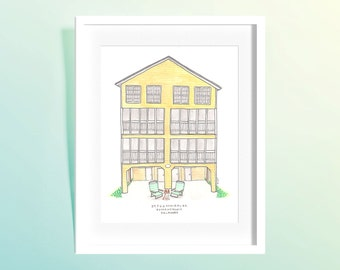 Custom Home/Building Watercolor Illustration