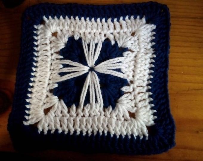 "8"" Digital Downloadable Crochet Design Square, ""Starburst Crochet Grannie Square"""