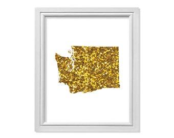 Gold Glitter Art, Washington Poster, Washington Print, Washington Art, Washington Map, Map Art, Map Print, Washington Decor, Wanderlust Art