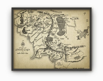Lord of the Rings Map Wall Art Poster - Middle Earth Map - Lord Of The Rings Fantasy Map - Mordor - Rohan - Gondor - Hobbit - Gandalf