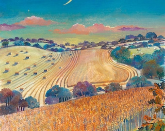 Giclee Print: SUMMER MOON, Limited edition giclee print. Blue sky over classic British countryside