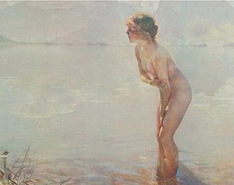 Paul Chabas September Morn 1912 Vintage Lithograph, Small