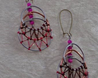 """Earrings """"Steel"""" Collection - Croissant high-low Rose"""