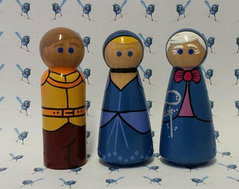 Wooden Peg Dolls - Cinderella