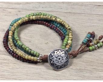 Boho Wrap Bracelet, Leather Bracelet, Beaded Wrap Bracelet, Leather Jewelry, Boho Bracelet, Beaded Bracelet, Bohemian Jewelry, NimbleKnots