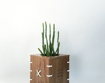 CINCH Small Walnut Wood Planter with White Paracord