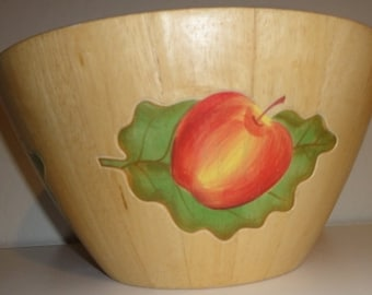 Large Vintage Handpainted Wood Bowl