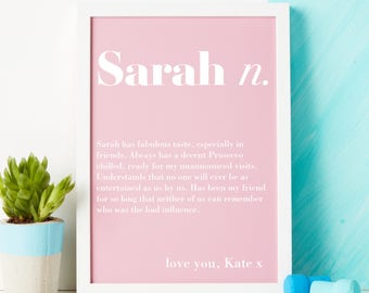 Initial print - Name gift - Name print - best friend gift - definition print - custom print - friendship print - personalised gift - print