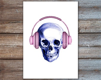 dj art, headphones skull, anatomy print, human skull 8x10 poster, blue skull