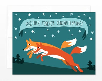 Cute Fox Wedding Card - Congratulations Greeting Card, Happy Anniversary Card, Happy Couple Card, Woodland Wedding Card, Gender Free Card