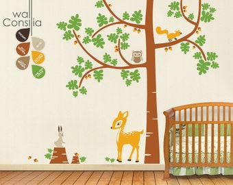 """Baby Nursery Tree Wall Decals - Tree Decal - Tree Wall Decal with Deer - Large: approx 106"""" x 90"""" - K008"""