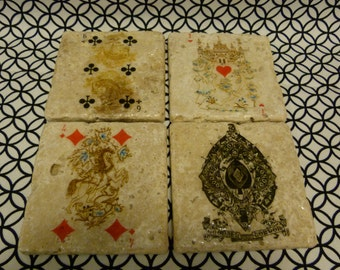 Playing Cards Marble Tile Coasters - Set of 4
