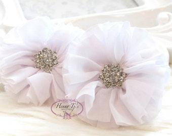 "2 pcs 2.5"" Adeila - PURE WHITE Shabby UNFrayed Chiffon Ruffle Ballerina Flowers with Rhinestone, Silk Flowers, applique , hair accessories"