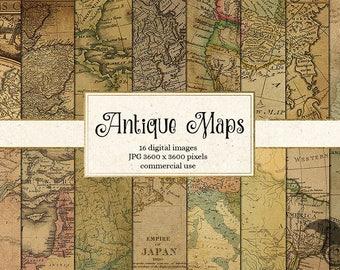 Antique Maps Digital Paper, Vintage Maps, World Map Scrapbook Paper Pack, Old paper textures instant download commercial use
