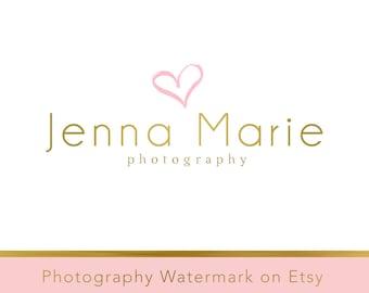 Instant Download Logo - Heart logo - Premade Logo Design - Watercolor Logo - heart watermark logo - Gold Logo Template - Photography Logo 84