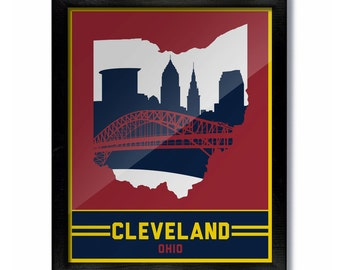 Cleveland, Ohio Skyline Poster Print: Wall Art Choose a Size - style 1 Cavs
