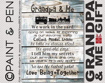Grandpa & Me Poster- Time Between Birthdays- Unique Gift for Grandpa- Personalized Grandparent Christmas Gift- Custom Grandmother Print
