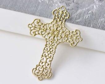 10 pcs Raw Brass Filigree Cross Charms Embellishments 37x52mm A8575