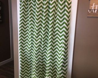 "Sale - Last Set - Ready to Ship - Green and White Chevron Window or Closet Curtains Set of 2 - Long Panels each is 26"" wide"
