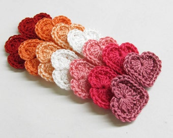 Crocheted tiny hearts 0.8 inches, pink mix., 12 pc.