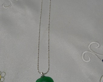 "Light Green Jade Heart-10""silver chain"