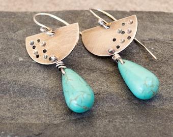 Turquoise dangle earrings, Sterling silver earrings, Tear drop silver earrings, Artisan earrings, Turquoise Howlite earrings, Boho earrings