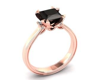 Black Diamond Ring 1.30 Carat Princess Cut Natural Black Diamond Engagement Ring In 14k or 18k Rose Gold. Wedding Band Available W27BKDR