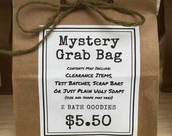 Mystery Grab Bag - surprise inside. may contain clearance items, scrubs, salts, bath accessories and more. 2 items per bag