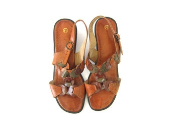 Dark Brown Leather Sandals Vintage CUT OUT Minimal Buckled Strappy Sandals Boho Summer Shoes Women's Size 9.5 10